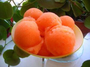 Dessert: Sweetened carrot, ginger and chilli sorbet